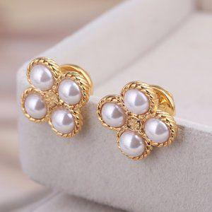 Tory Burch Pearl Flower Clover Gold Stud Earrings